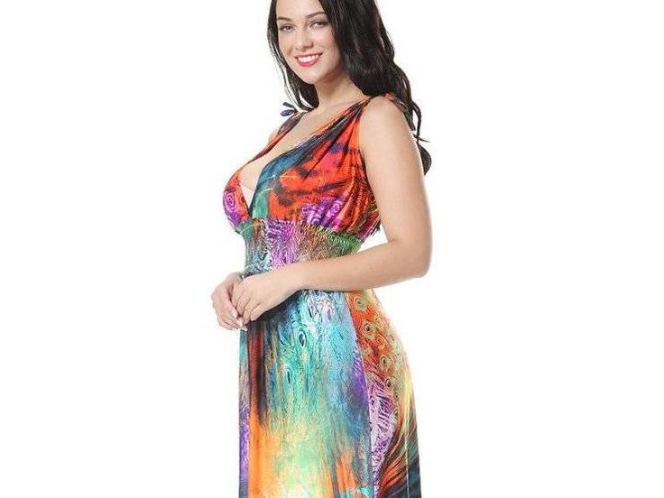 Bohemia Plus Size Colorful Feathers Printing V Neck Sleeveless Maxi Dress For Women
