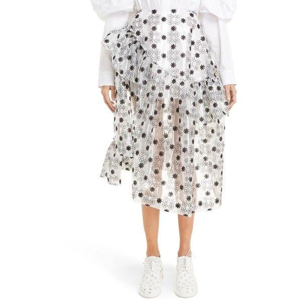 Women's Simone Rocha Plastic Anglaise Skirt ($2,200) ❤ liked on Polyvore featuring skirts, black, knee length a line skirt, wide skirt, ruffled skirt, plastic skirt and high rise skirts