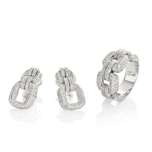 CHIMENTO Febo white gold ring and earrings with diamonds.