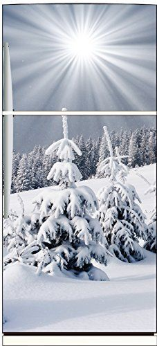 Stickersnews – Sticker frigo déco cuisine Montagne enneigée Dimensions – 60x170cm