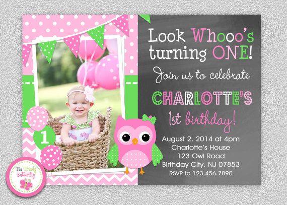 Owl 1st Birthday Invitation Owl Birthday by TheTrendyButterfly