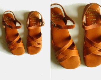 zeppe di pelle / pelle scarpe piattaforma / vintage sandali di cuoio / donne scarpe 8 7,5