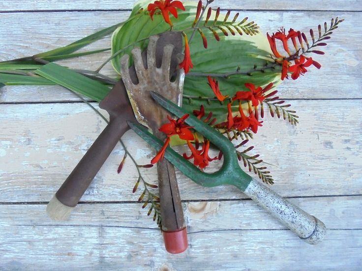 Vintage Gardening Hand Tools, Potting Shed Decor, Yard Art Decor, Salvage Metal Garden Tools,Metal Garden Decor by Imperfetions on Etsy