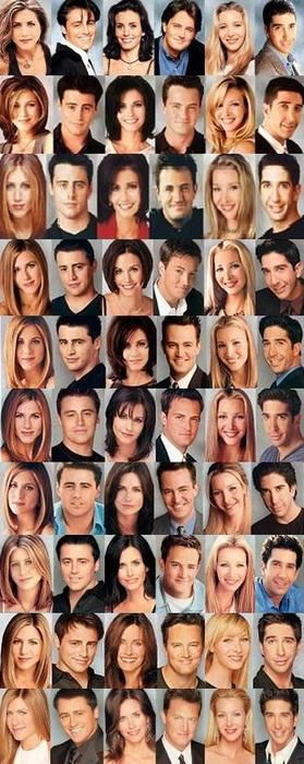 10 years of Friends. That awkward moment when Ross looks exactly the same...