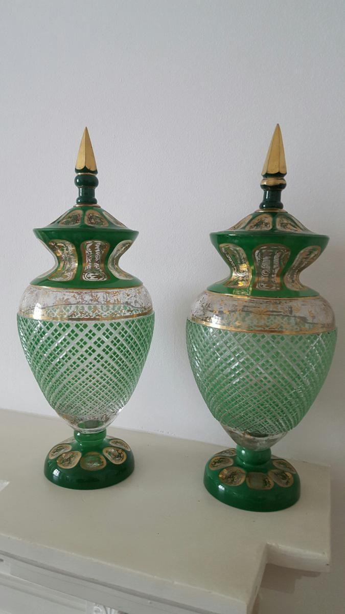 Paire Vases Bohême/Boheme Cristal Overlay Pour L`Orient - 19ieme siecle, height: 40cm