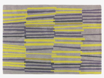 TETTA GREYS Wool Medium grey and yellow wool rug 140 x 200cm - HabitatUK