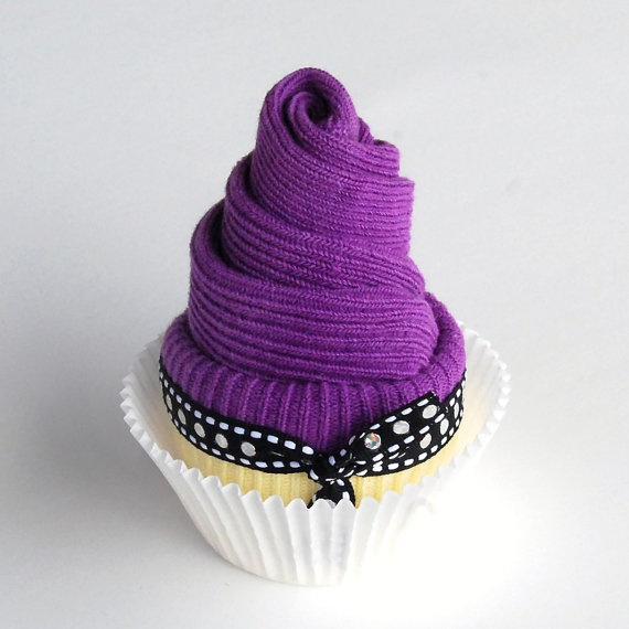 Baby Purple Sock Cupcake, Perfect for Baby Shower Gift or Favor