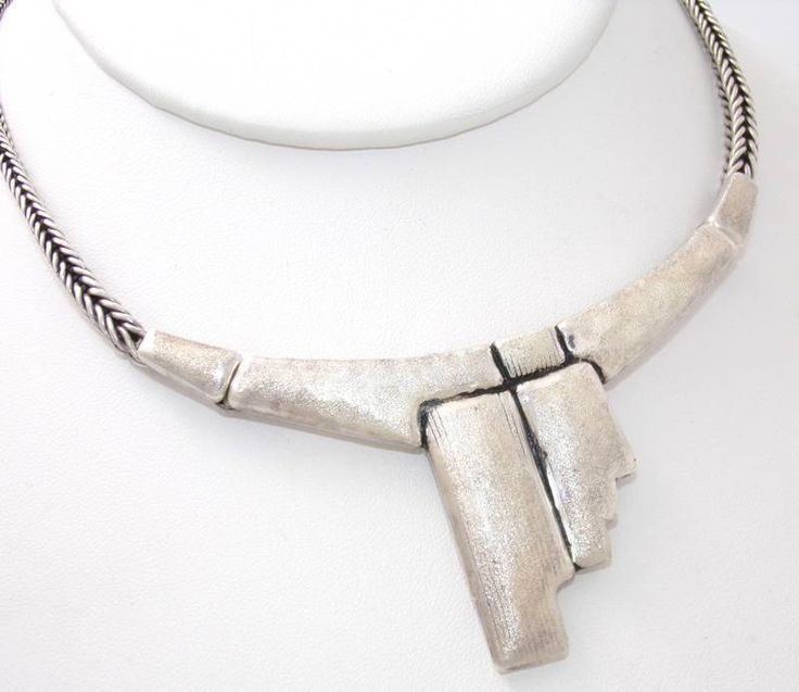 Large modernist sterling silver abstract necklace. Unknown origin. | peculiarjewelry.com