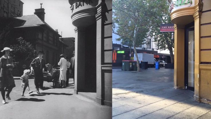 From Bank to Pizza. Corner of Roslyn St and Darlinghurst Rd, Kings Cross 1939 > 2016. [State Library NSW>Curt Flood. By Curt Flood]