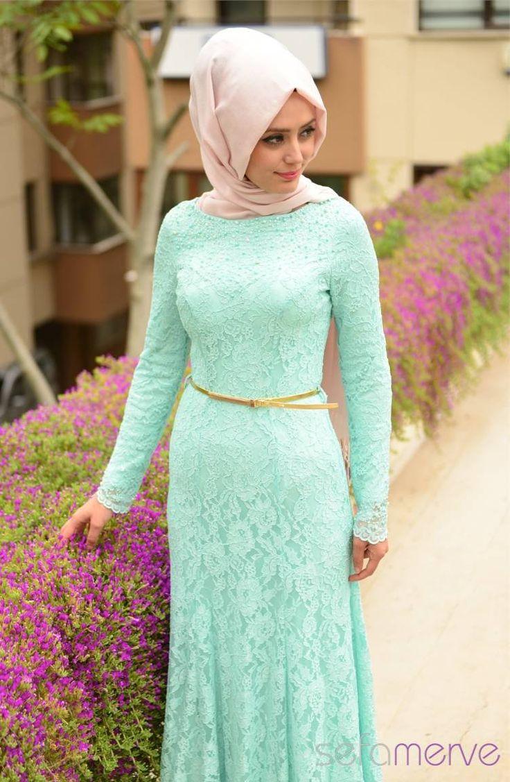 Sefamerve Abiye Elbiseler PDY 4125-02 Mint Yeşil
