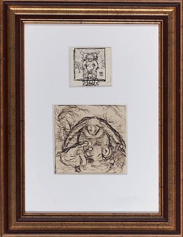 ERIK WERENSKIOLD WINGS 1855 - OSLO 1938  Adventure Drawings, 1907  Two felt pen drawings are sold together, 7x7,5 cm (L) and 12,5x13,2 cm (L)  One monogram signed and dated lower right: EW 1907