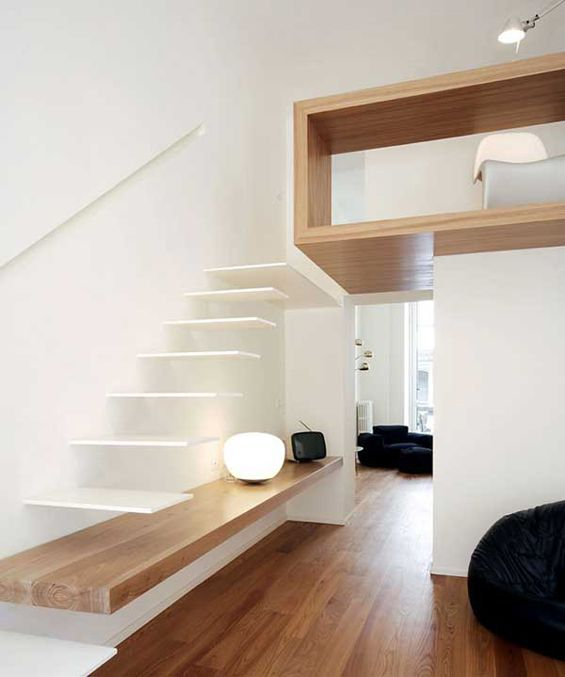 wood and white: Floating Stairs, Loft Stairs, Houses Studios, Houses Ideas, Home Interiors Design, Awesome Ideas, Modern Home, Minimalist Home, Gorgeous Houses