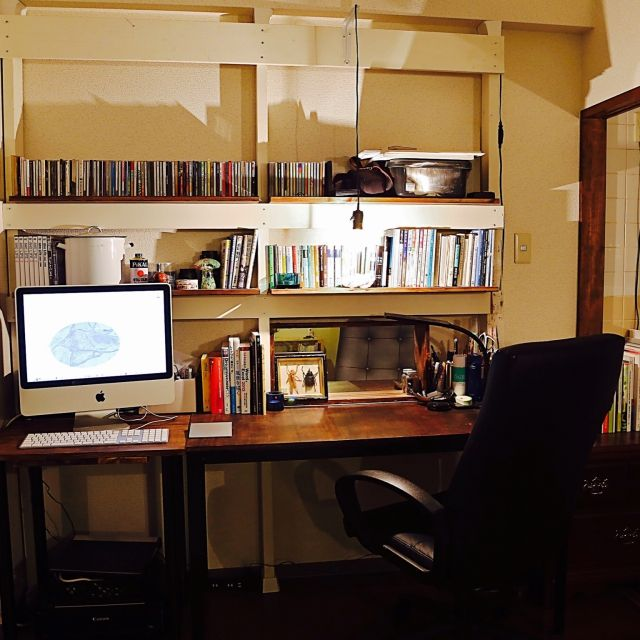 reisaaanさんの、壁/天井,アンティーク,ハンドメイド,DIY,パソコンデスク,ワークデスク,収納棚,作業スペース,ディアウォール,本棚DIY,ワークデスクDIY,のお部屋写真