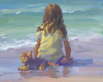 REVERIE strand tafereel met klein meisje en haar huisdier hond. Meisjes kamer, strandhuis, kunst wand decor, impressionistische, Lucelle Raad Art