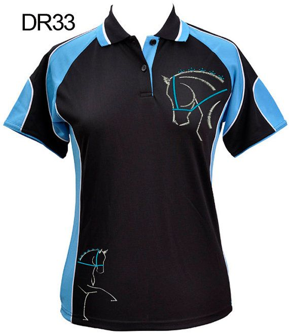 Black/Aqua Cooldry Polo Shirt with Embroidered Dressage Horse Design Exclusive HorseUp Designs