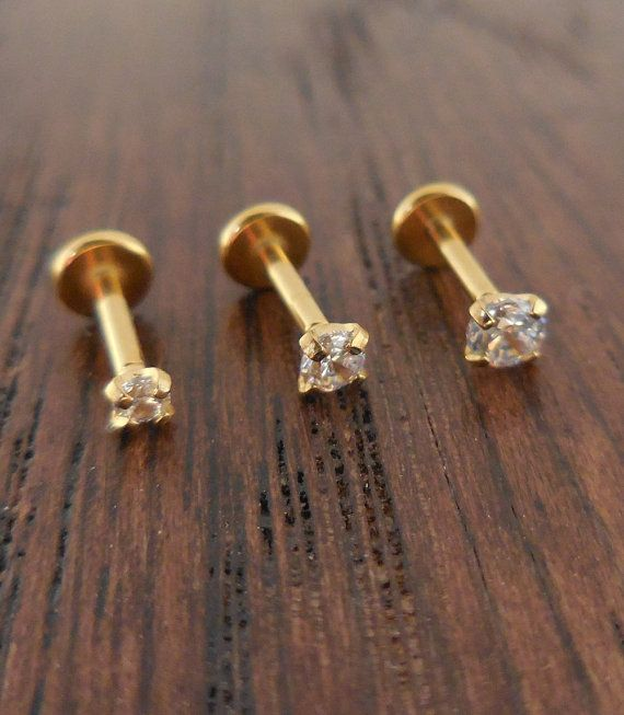 "18g 2mm 2.5mm or 3mm Tragus 1/4"" 6mm Gold Titanium Anodized Cartilage Triple Forward Helix Piercing Bar Ear Nose Conch Ring"