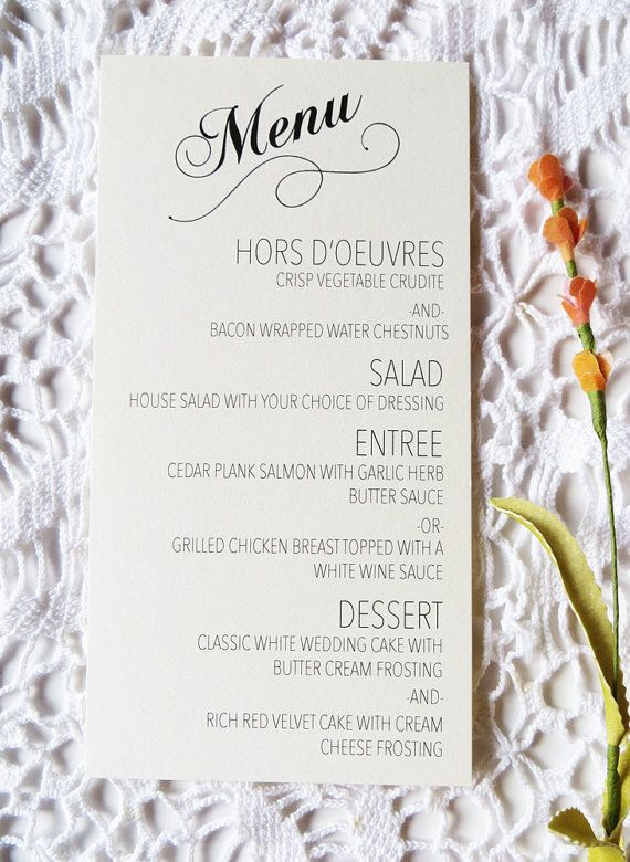 Wedding menus are great for speeding up that buffet line! No one wants to stand in line all night!