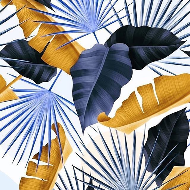 blue and gold leaf | palm leaf