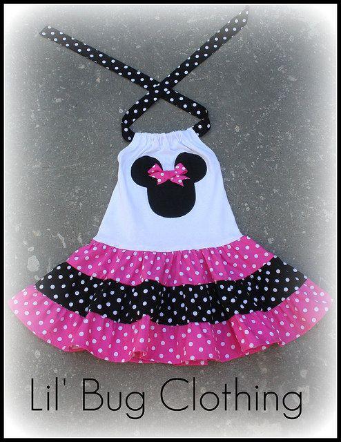 Custom Minnie Mouse Pink and Black  White Polka Dot  Tiered Halter Dress. $39.99, via Etsy.