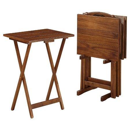 Acacia TV Tray Table Set Brown   Linon Home Décor® : Target