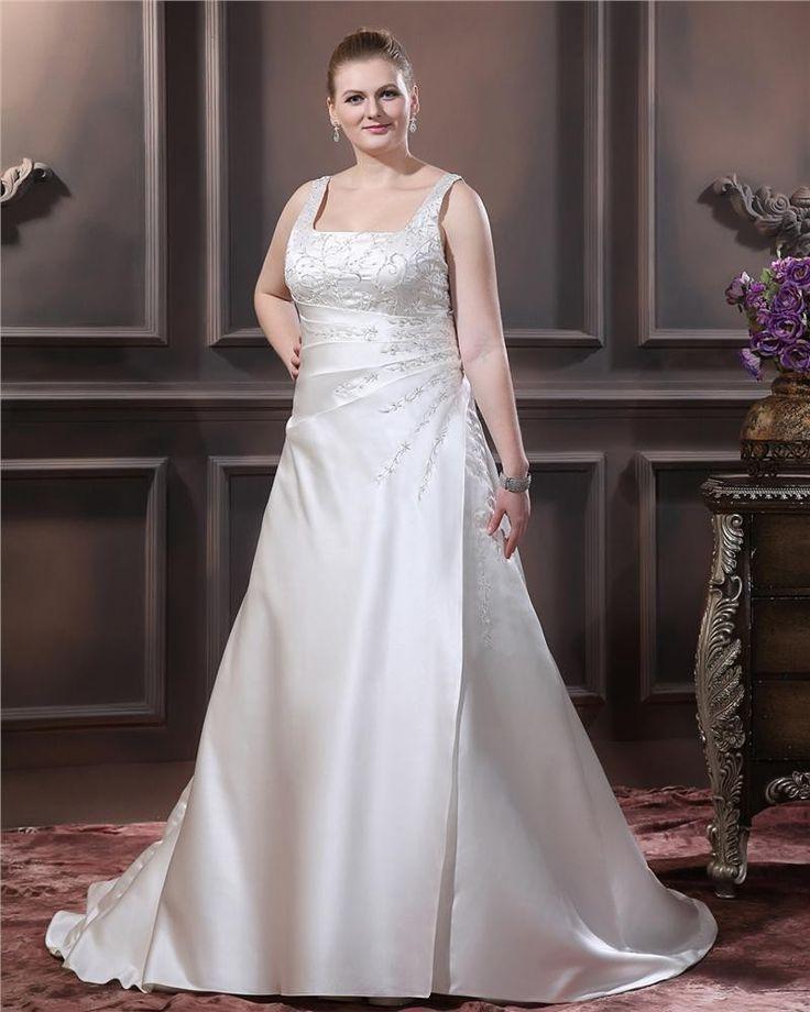 17 beste idee n over satijnen bruidsjurken op pinterest for Plus la taille robe de mariage illusion