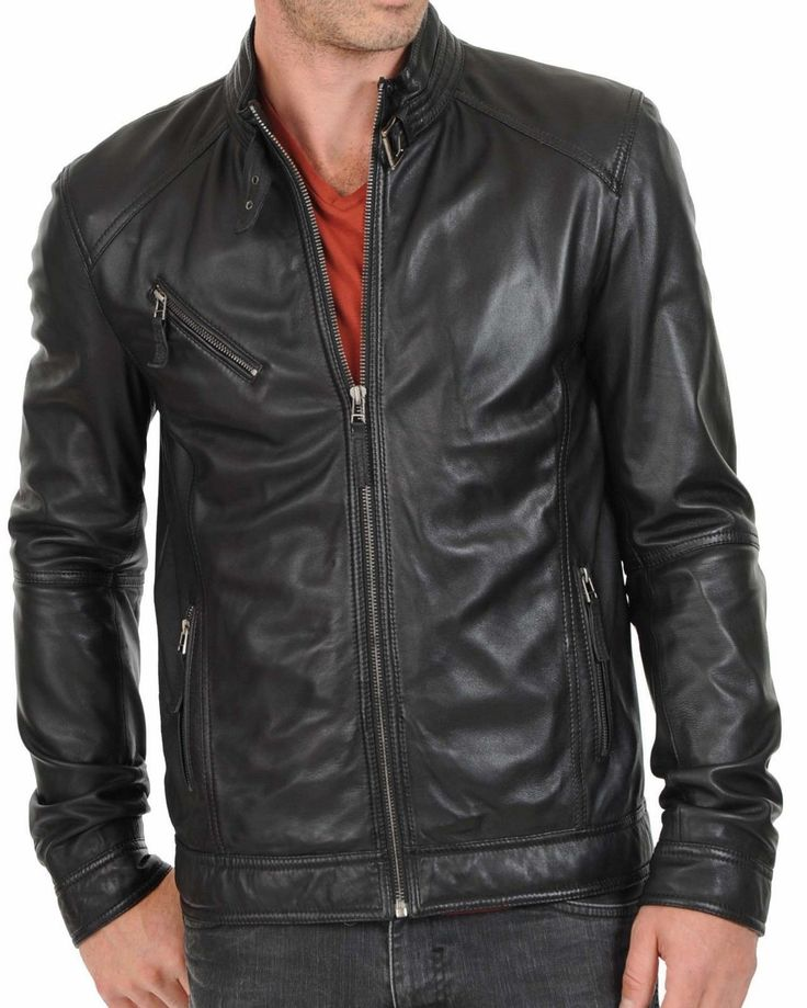 Man black biker jacket, Mens leather jacket, black Leather jackets for men - Outerwear #FashionJacketsForMen