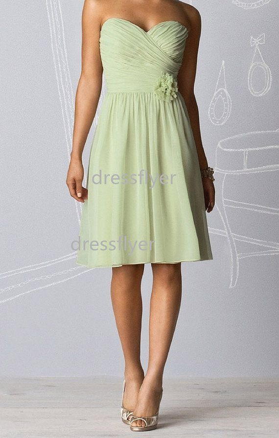 Sage Short Bridesmaid Dress, Strapless A Line Bridesmaid Dress, Sage Green Chiffon Bridesmaid Dress Formal Dress Bridal Party Dress on Etsy, £45.70