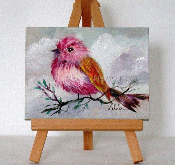 Pink Bird 3x4 original oil painting gift item by valdasfineart