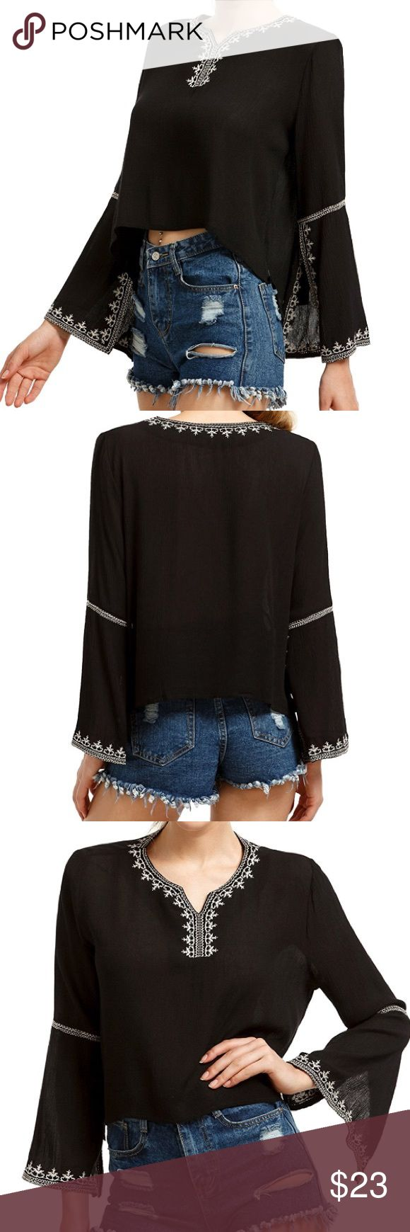🆕Embroidered Boho Bell Sleeve Top Black Embroidered Trumpet Sleeve Top - Not quite a Crop Top but it is shorter in front ✌🏼                                  ✨Anthropologie inspired✨              ✖️PRICE IS FIRM BUT I ACCEPT OFFERS ON BUNDLES✖️                                     ✖️NO TRADES PLEASE✖️ Anthropologie Tops Blouses