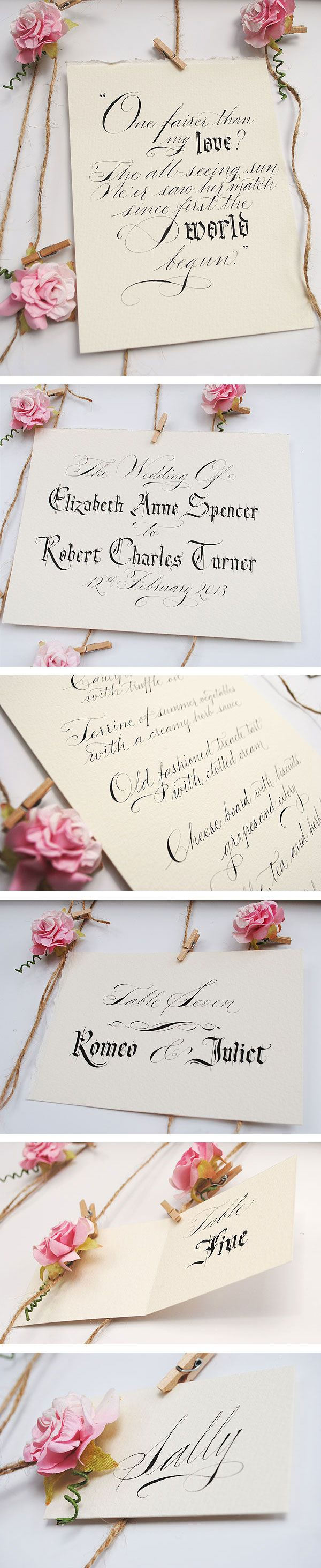 Shakespeare inspired English country garden wedding quotes and signs