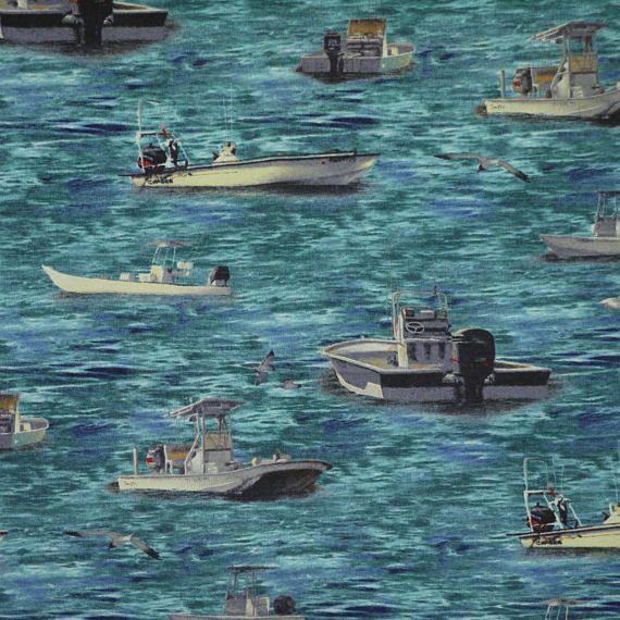 1/2 YARD COTTON PRINT Blue Ocean Fishing Boats Craft or