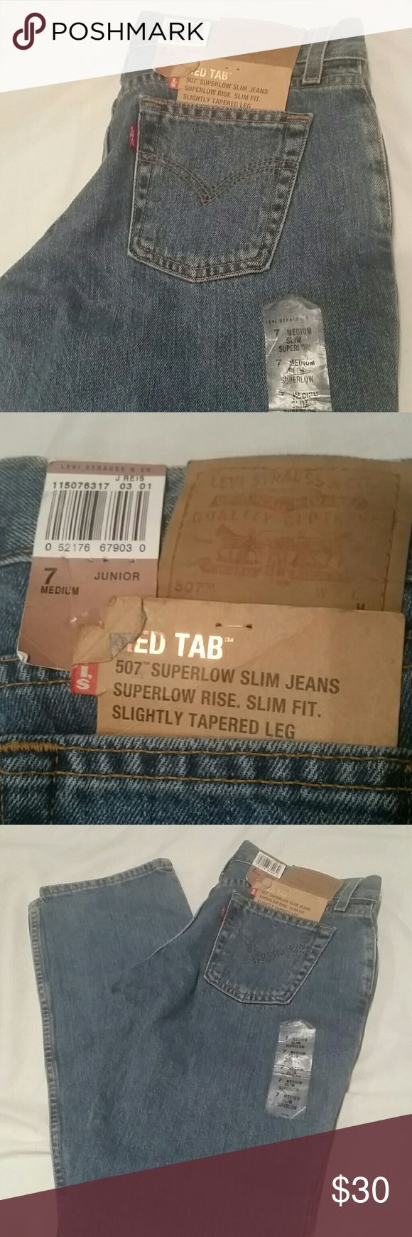 New LEVI'S 507 Super Low Slim JEANS  Sz 7 Junior New w/Tags,  507,super Low, slim, Tapered Leg,   Size 7 Junior Medium Levi's Jeans Straight Leg
