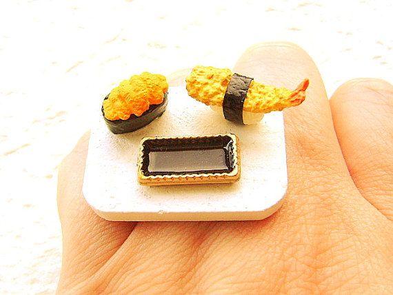 Sushi Ring Shrimp Sea Urchin  Miniature Food by SouZouCreations, $12.50 #etsy #jewelry #jewellery #shopping #etsy #handmade #food #gift #present #accessory #accessories #harajuku #tokyo #fashion