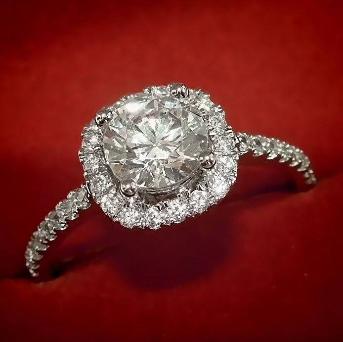 1.35 ct Solitaire With Halo Accents Wedding Engagement Ring Solid 14k White Gold