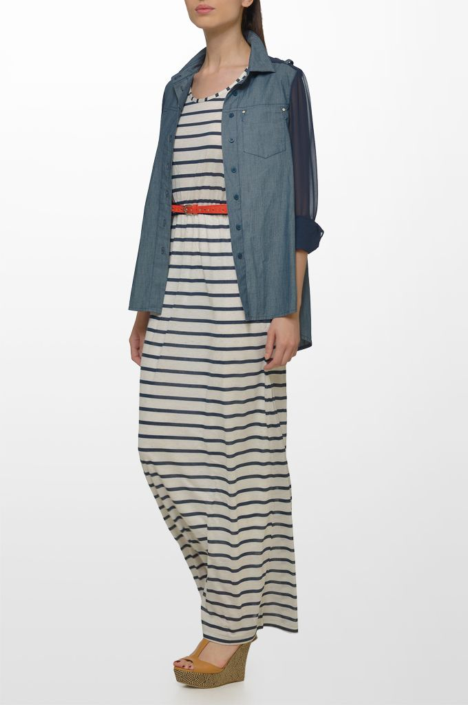 Sarah Lawrence - denim chambray shirt with see through sleeves, maxi striped dress with embroidery, leather belt.