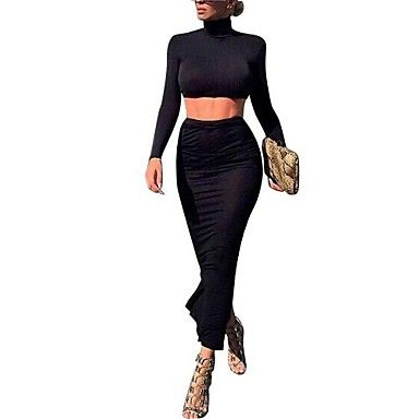 vrouwen zwarte katoenen sexy nachtclub slanke lange mouw pak (top&rok) - EUR € 29.99