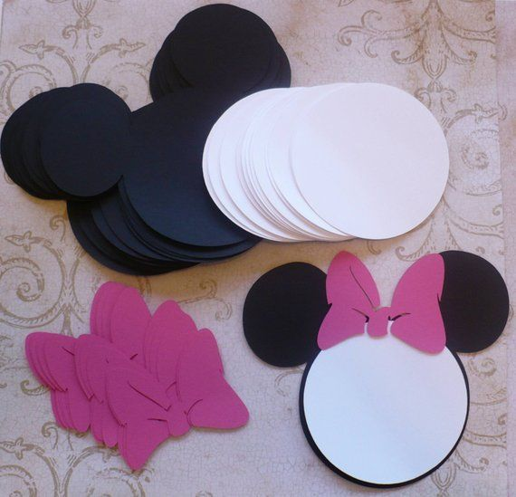 12 Black Minnie Mouse Head Shapes White Circle Shapes Hot Pink Bows – Die Cut Pieces for DIY Birthday Party Invitations