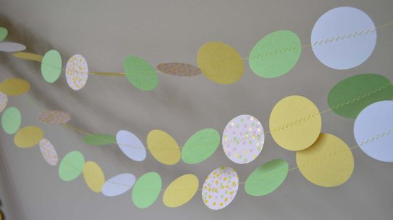 Yellow and green garland! Birthday Party ideas by MilestonesandPebbles on Etsy, $12.98 https://www.etsy.com/shop/MilestonesandPebbles?ref=related-shop-35