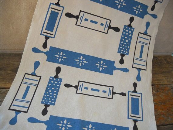 Midcentury Cannon Kitchen Towel with Retro Rolling Pin Graphics on Etsy, $24.48 AUD