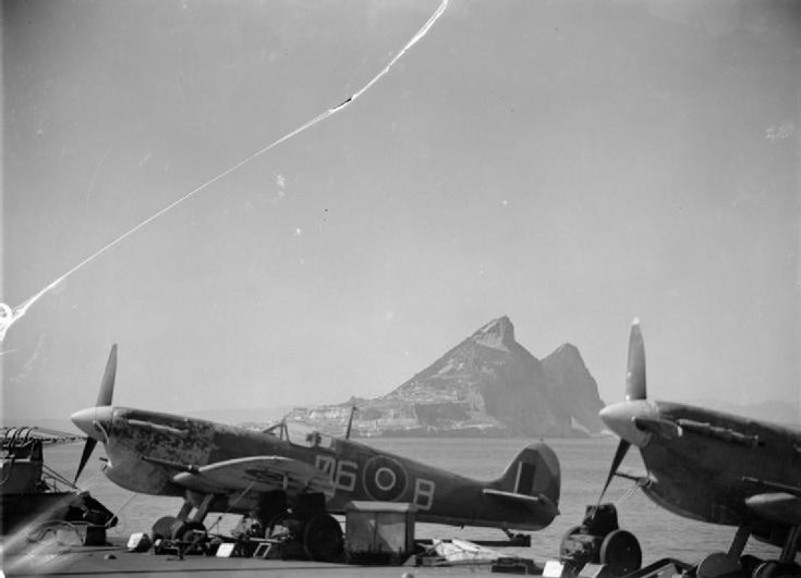 HMS Formidable, with Seafire fighters of No. 885 Squadron FAA, off the Rock of Gibraltar, mid-1942 to 1945.