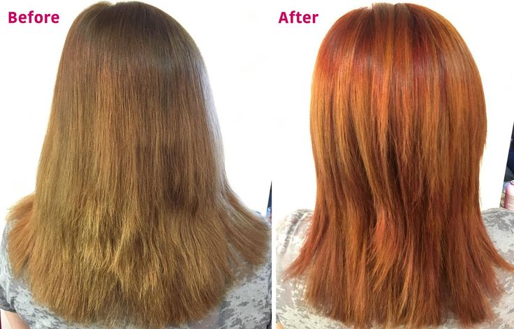 This client needed her haircut fixed, but wanted to maintain her length. Ginny cleaned up her layers and finished the hair makeover with a beautiful, copper color melt.