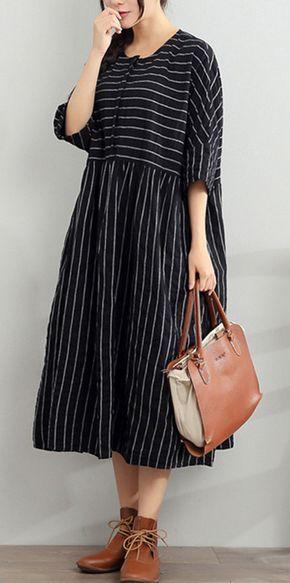 2017 blue summer striped dresses plus size cotton sundress half sleeve maxi dress