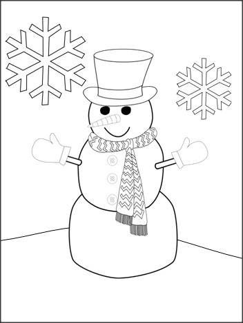 Free Snowman Coloring Page Coloring