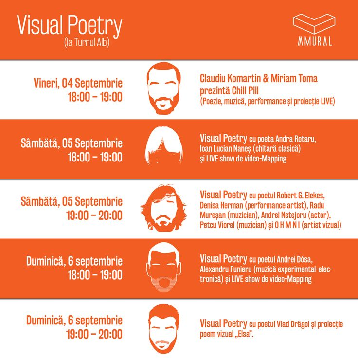 This is the Facebook event Calendar for the Visual Poetry program within the Amural Fest.