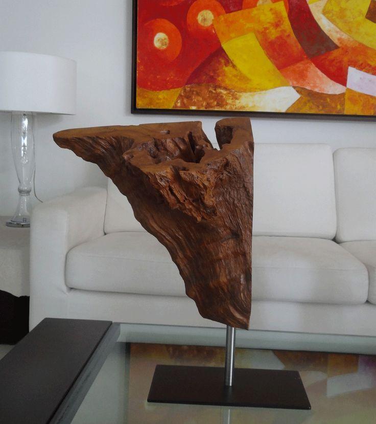 Modern Rustic Natural Wood Sculpture