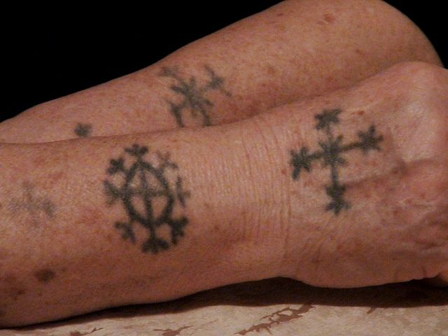 Photo: Croatian Tattoo on Flickr.  Subject: Jelka Markić, born Petričević , 1942 in village Lukovo Brdo in Kakanj Municipality, Bosnia and Herzegovina.  Traditional Balkan tattoo design, a custom for over 1000 years.