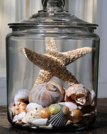 Create a memory jar from a special vacation.  I like to add beach sand under my shells in glass vase...