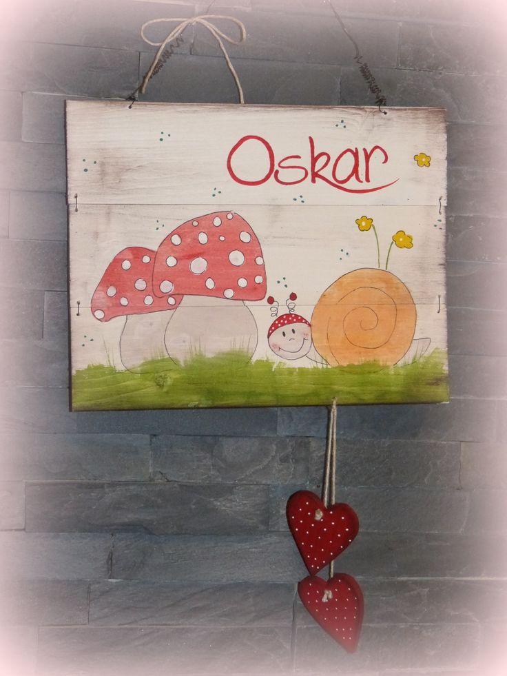 Fresh T rschild Kinderzimmer mit Schnecke Pilzen und insividueller Beschriftung