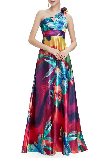 Satin One Shoulder Floral Prom Dress - Colorful and beautiful tropical flower print long dress. Disclosure: This is an affiliate link.