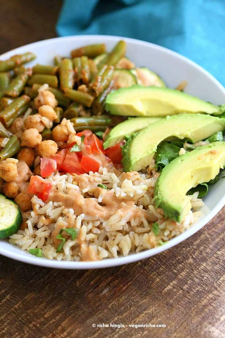 Masala Chickpea Bowl with Chana Masala Spice Chickpea Dressing. - Vegan Richa